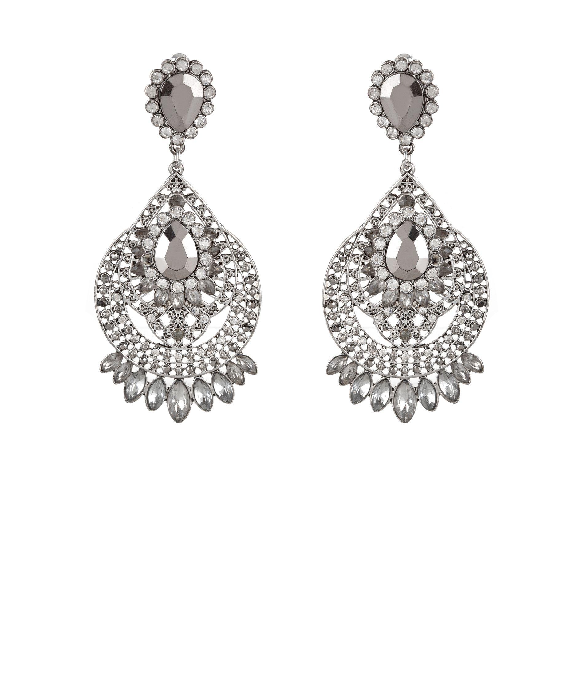 Silver Jewelled Drop Earrings _9.99